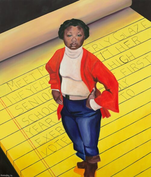 Beverly Glaze is seen in this painting as a young girl. Sweater over a white turtleneck. She has struck a proud, slightly defiant, pose, hands on hips looking up. She is standing on a HUGE yellow legal pad. It appears as if it is a rug.