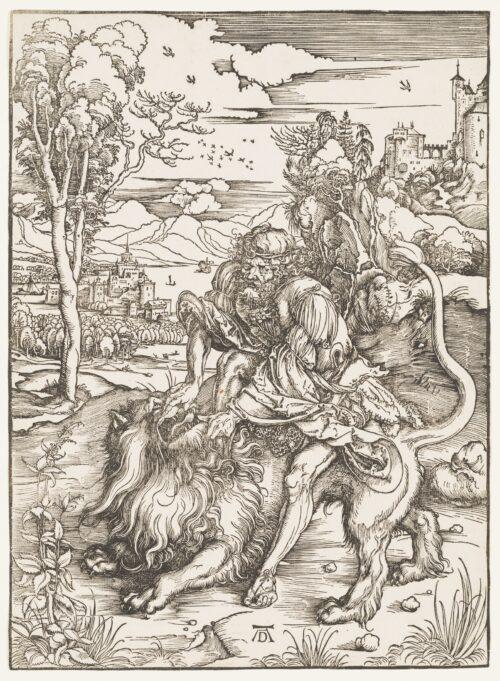 Albrecht Dürer. Samson Fighting the Lion