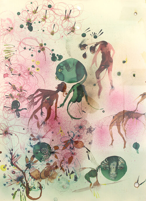 Painting appears to have multi-limbed bodies floating on a background of green, pink and gold. Larger green figures float among the smaller ones.