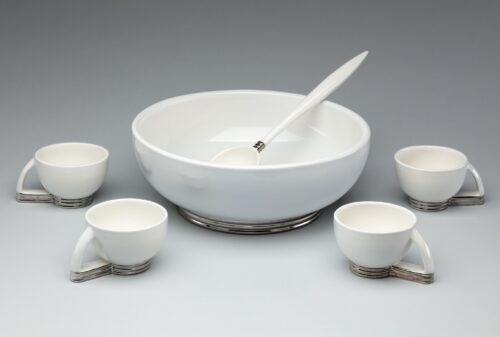 Art Deco Punch Bowl Ladle and Cups